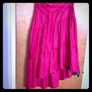 Hot Pink high low ruffled skirt